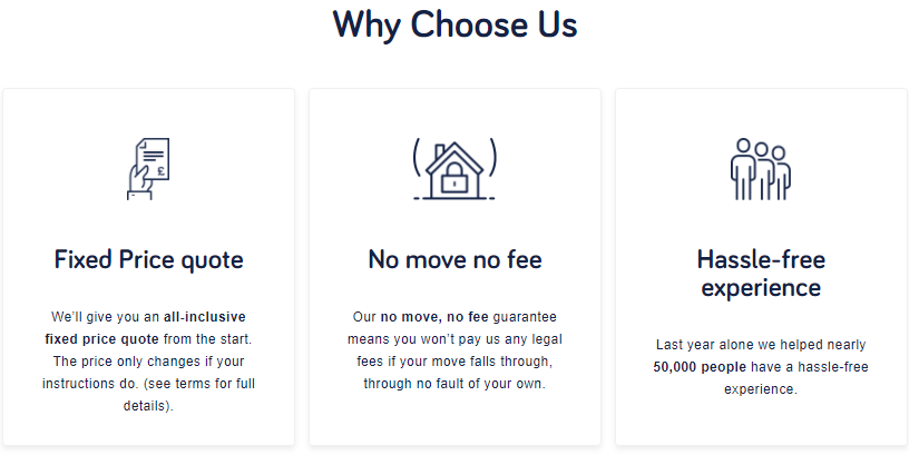Why Choose Us: Fixed price quote No move no fee Hassle-free experience